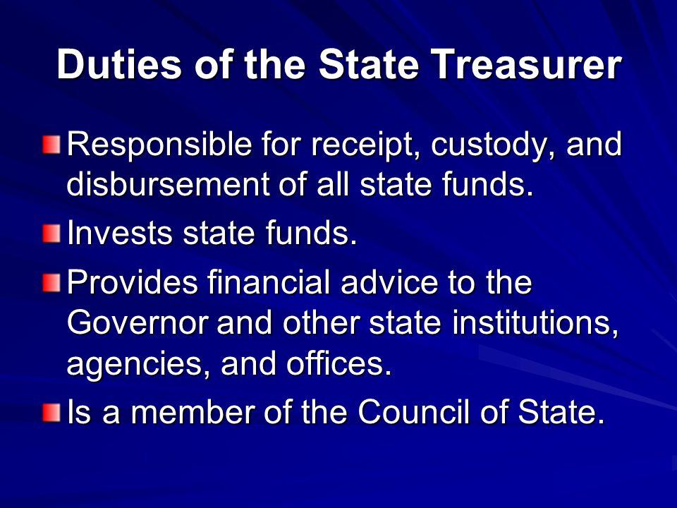 Duties of the State Treasurer