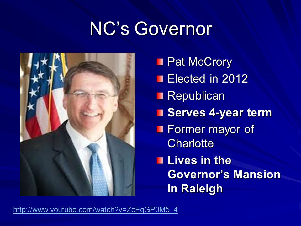 NC's Governor Pat McCrory Elected in 2012 Republican