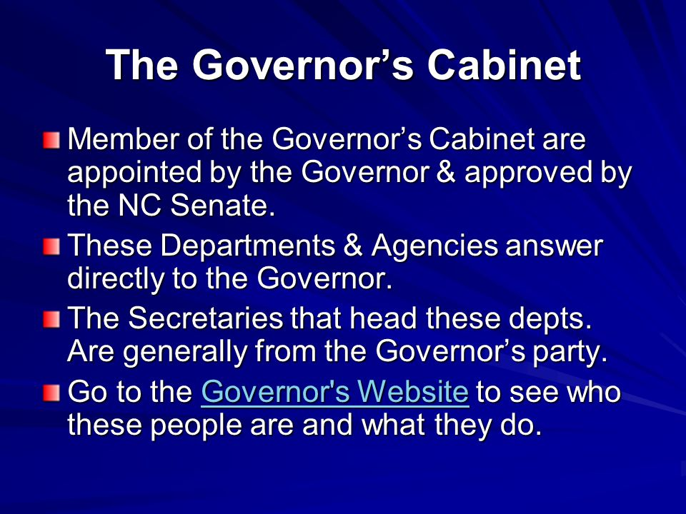 The Governor's Cabinet