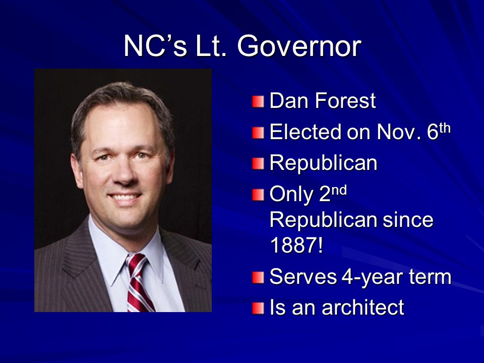 NC's Lt. Governor Dan Forest Elected on Nov. 6th Republican