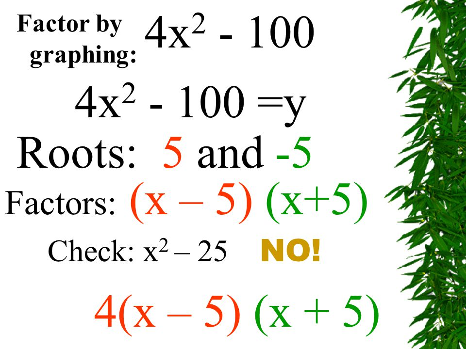 4x2 - 100 4x2 - 100 =y Roots: 5 and -5 4(x – 5) (x + 5) Factor by