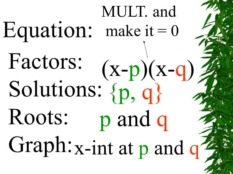 Equation: Factors: (x-p)(x-q) Solutions: Roots: {p, q} Graph: p and q