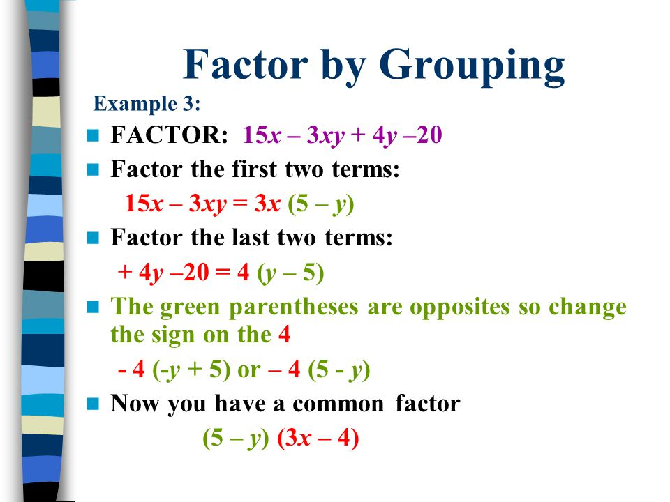 Factor by Grouping Example 3: