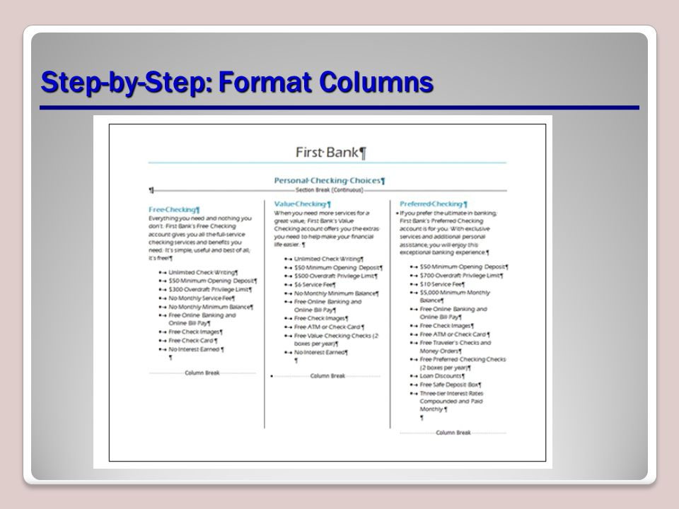 Step-by-Step: Format Columns