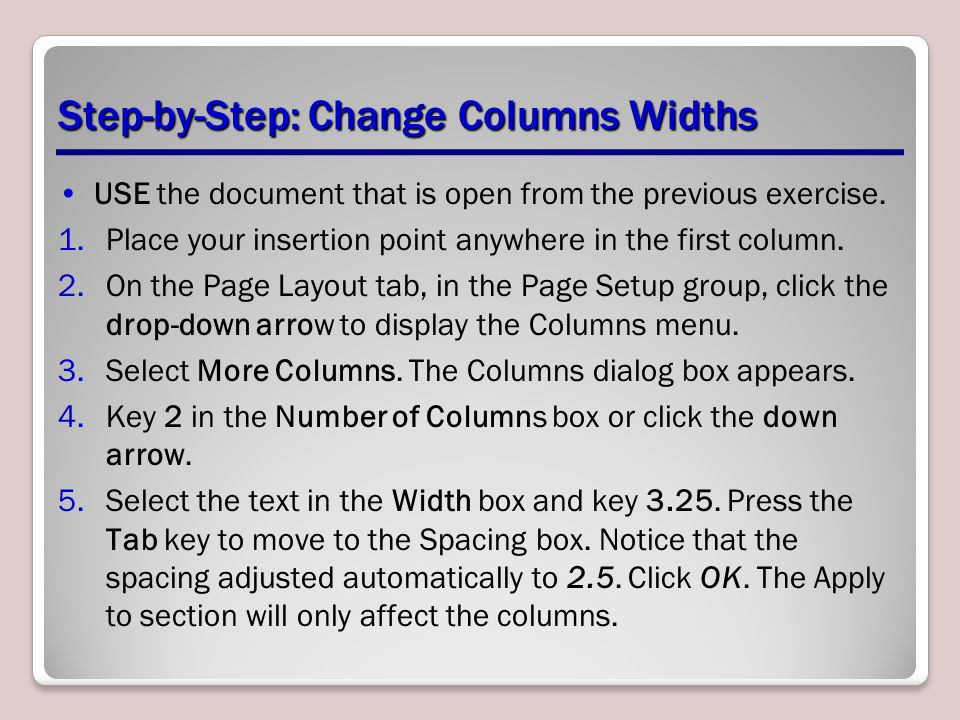Step-by-Step: Change Columns Widths