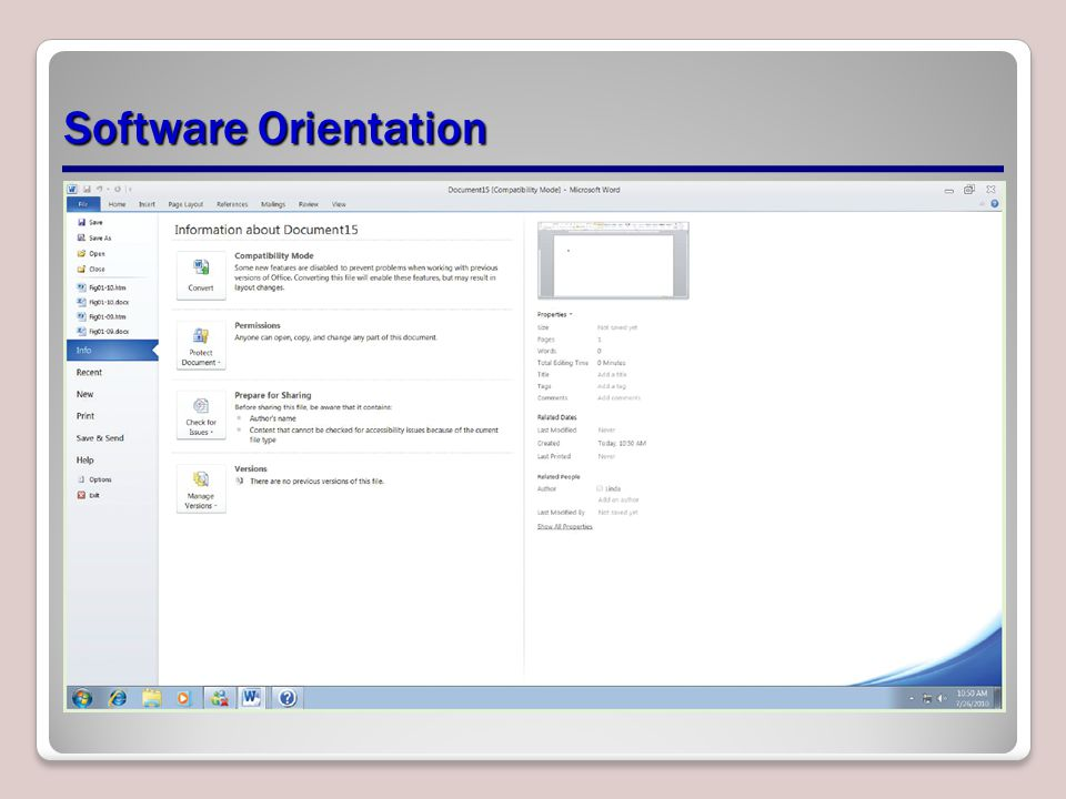 Software Orientation
