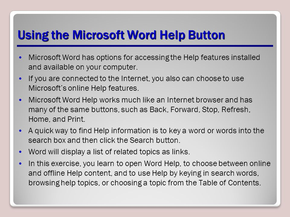 Using the Microsoft Word Help Button