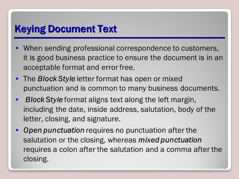 Keying Document Text