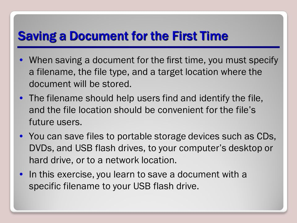 Saving a Document for the First Time