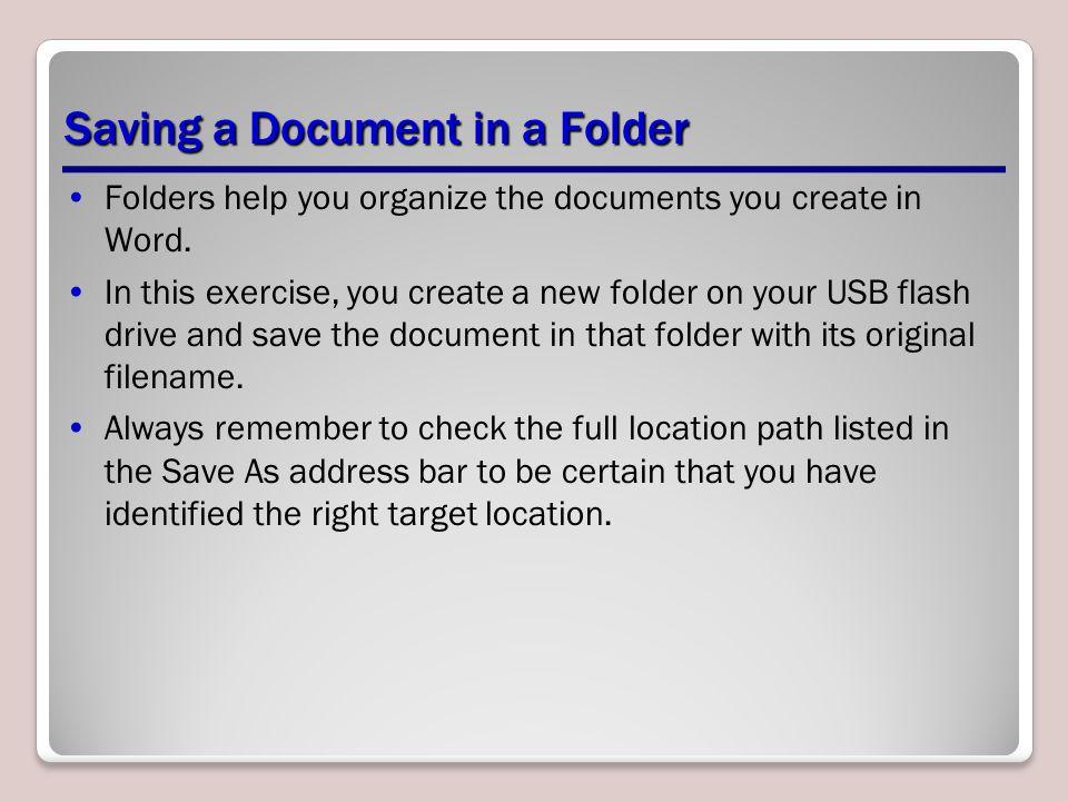 Saving a Document in a Folder