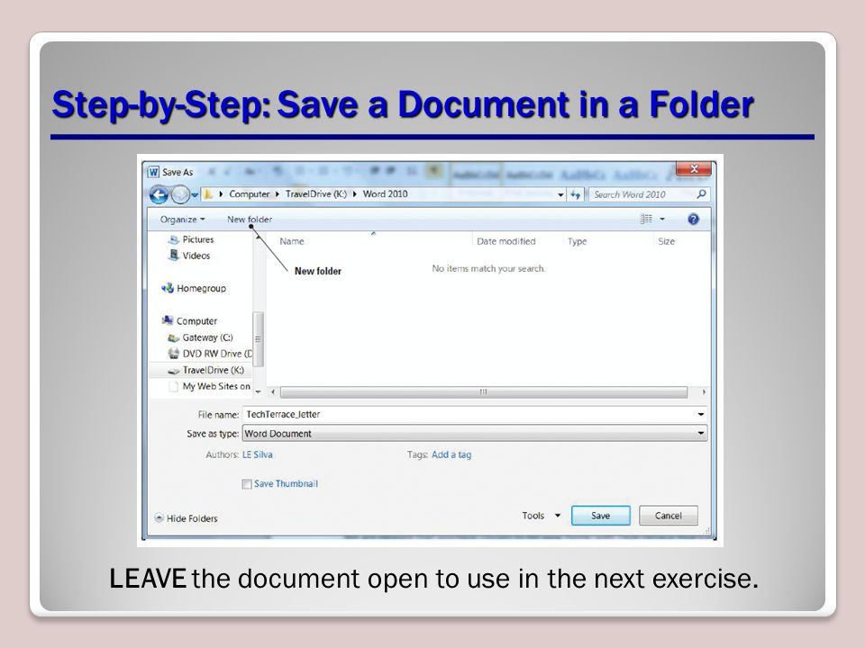 Step-by-Step: Save a Document in a Folder