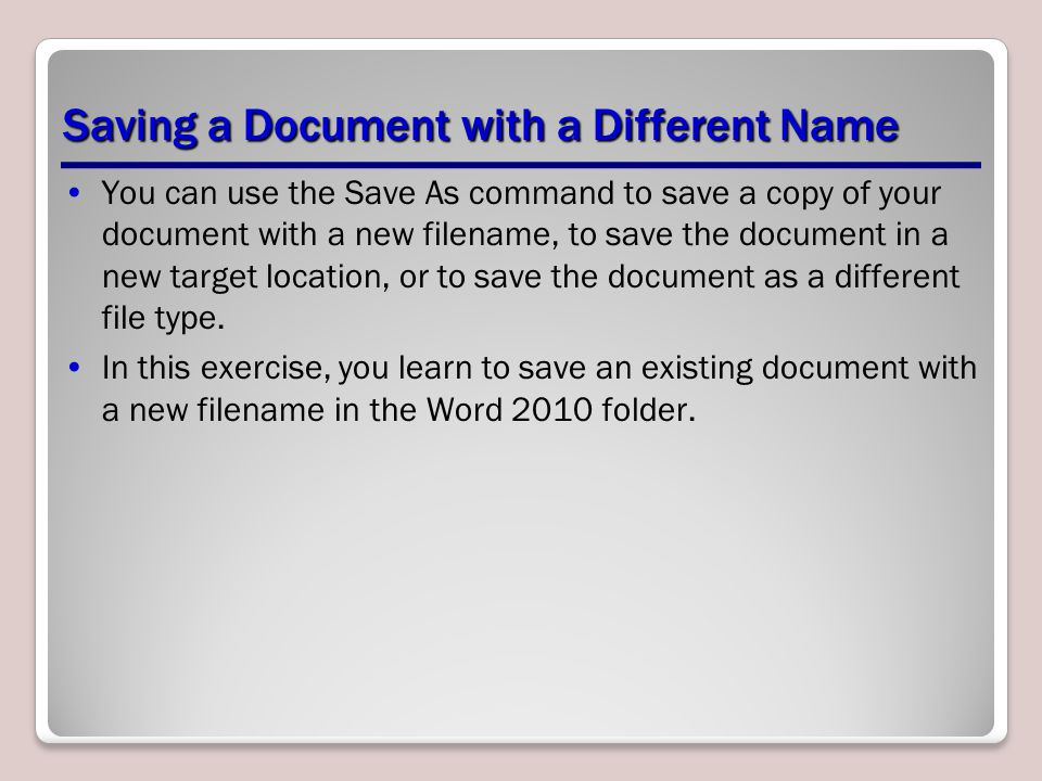 Saving a Document with a Different Name