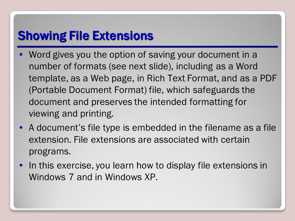 Showing File Extensions