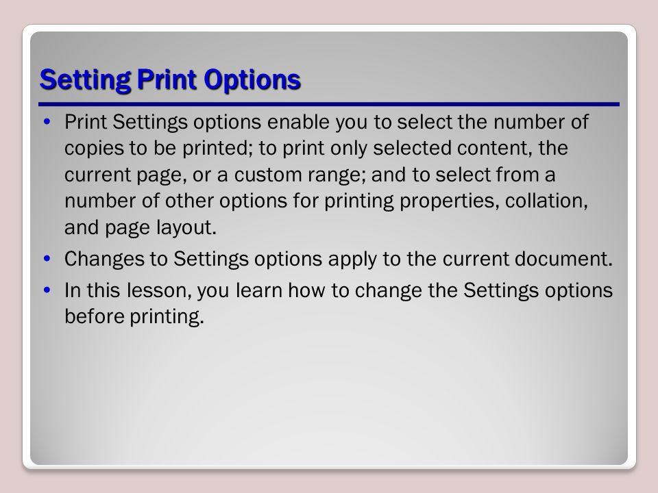 Setting Print Options