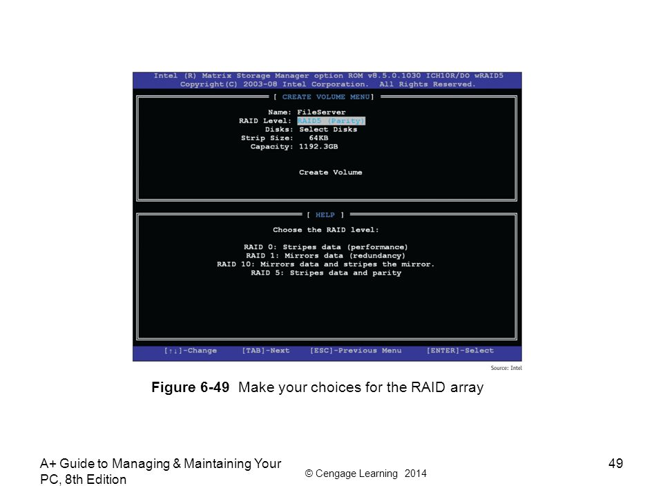 Figure 6-49 Make your choices for the RAID array