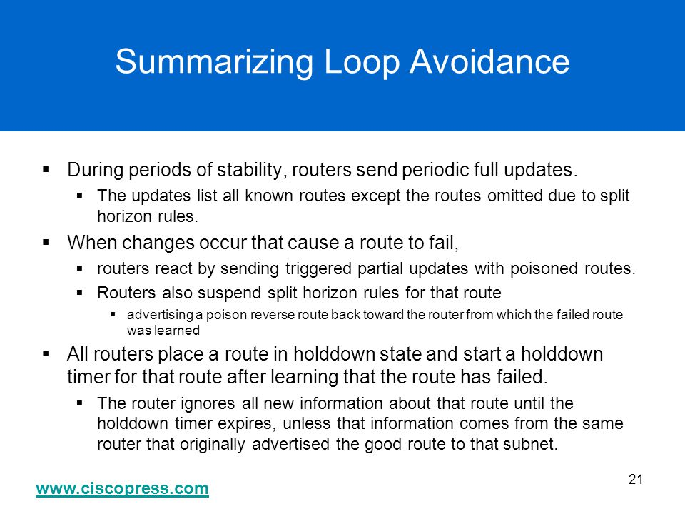 Summarizing Loop Avoidance