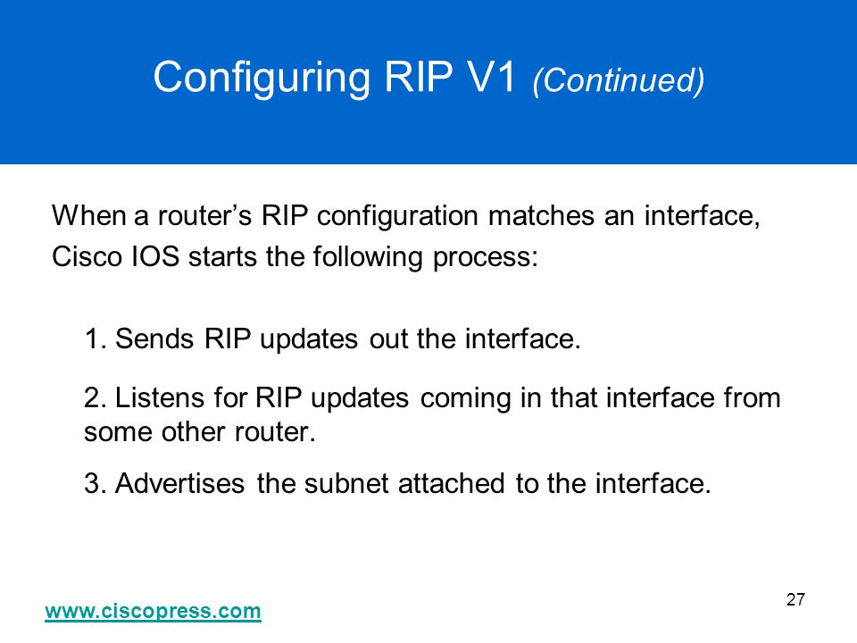 Configuring RIP V1 (Continued)