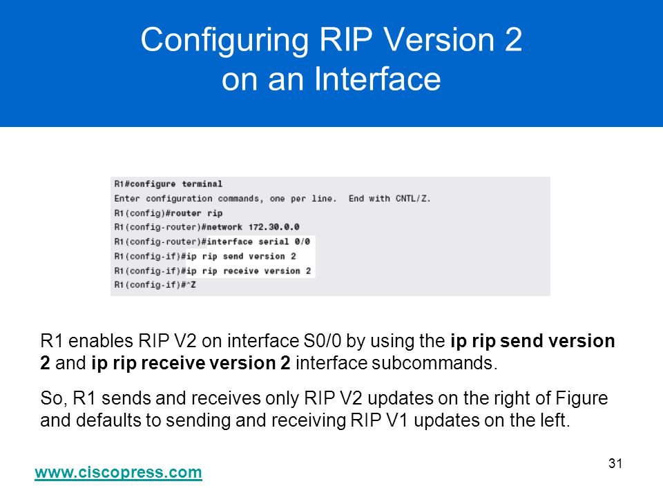 Configuring RIP Version 2 on an Interface