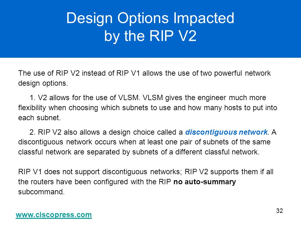 Design Options Impacted by the RIP V2
