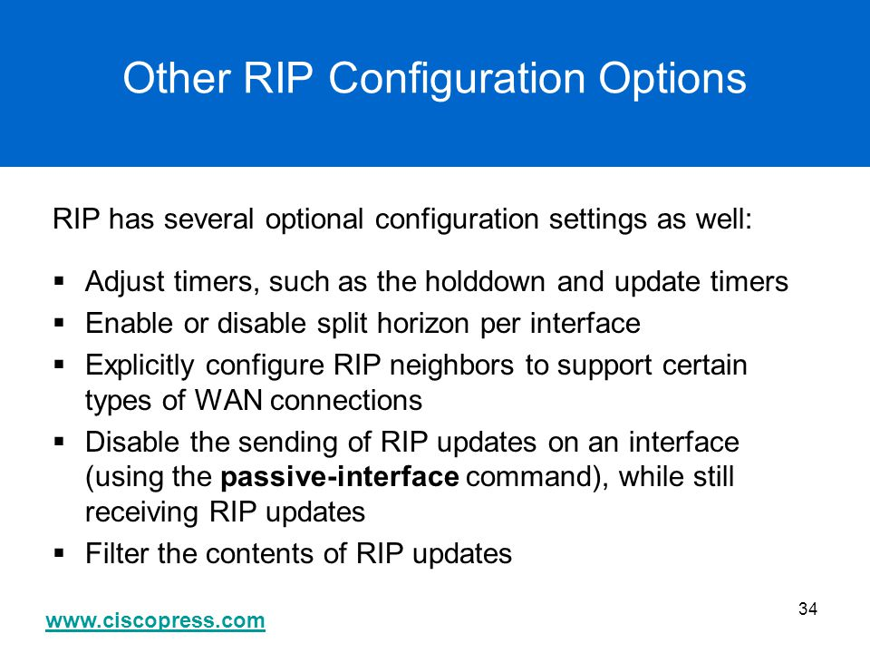 Other RIP Configuration Options