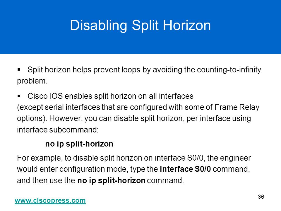 Disabling Split Horizon
