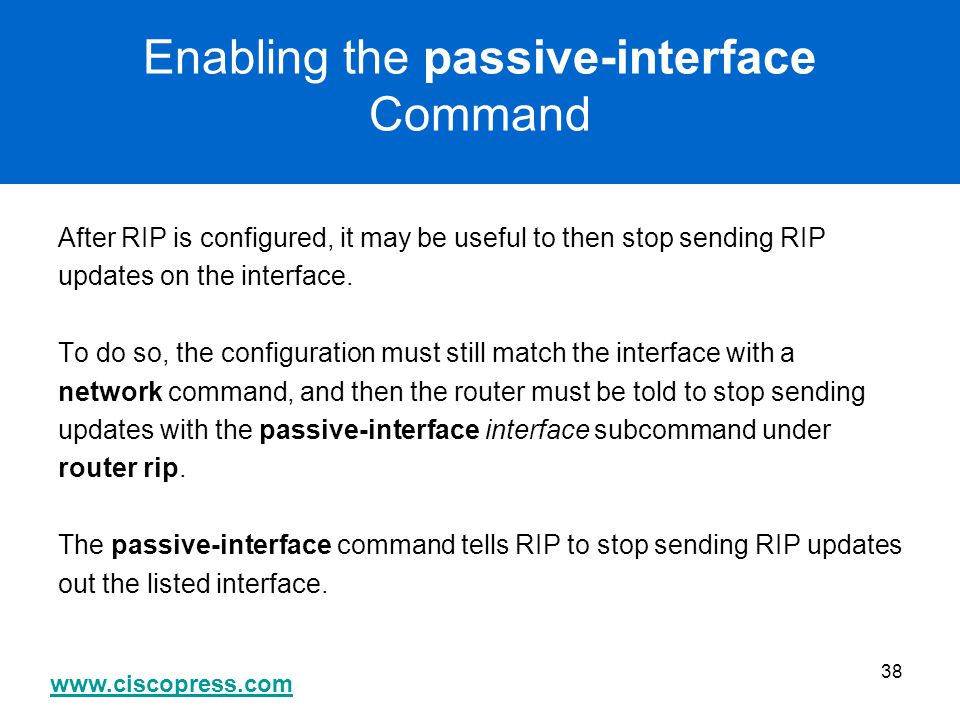 Enabling the passive-interface Command