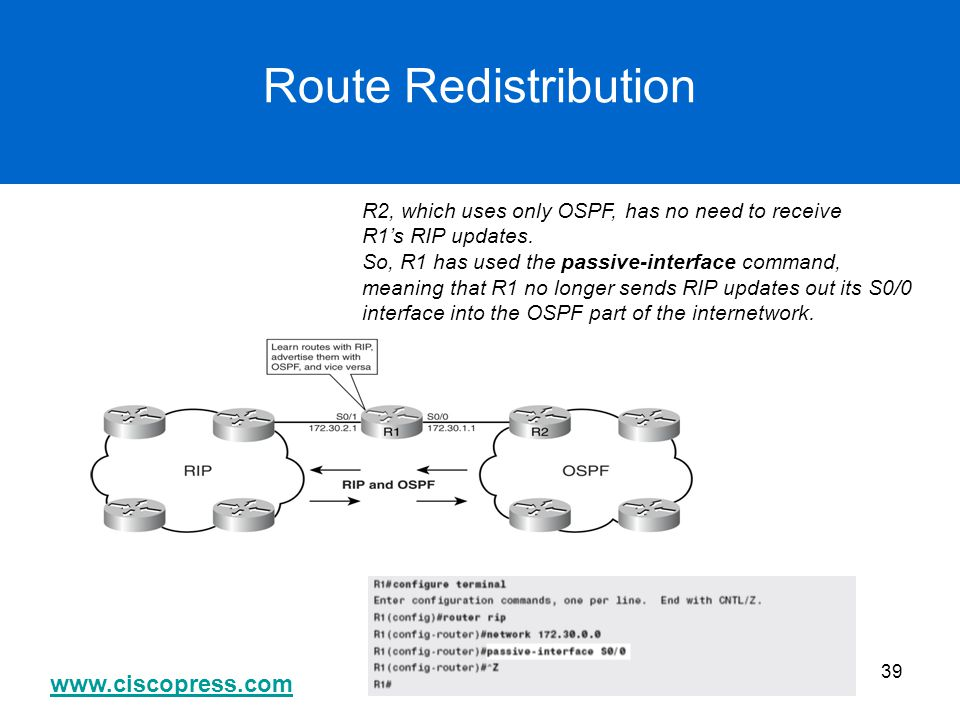 Route Redistribution R2, which uses only OSPF, has no need to receive