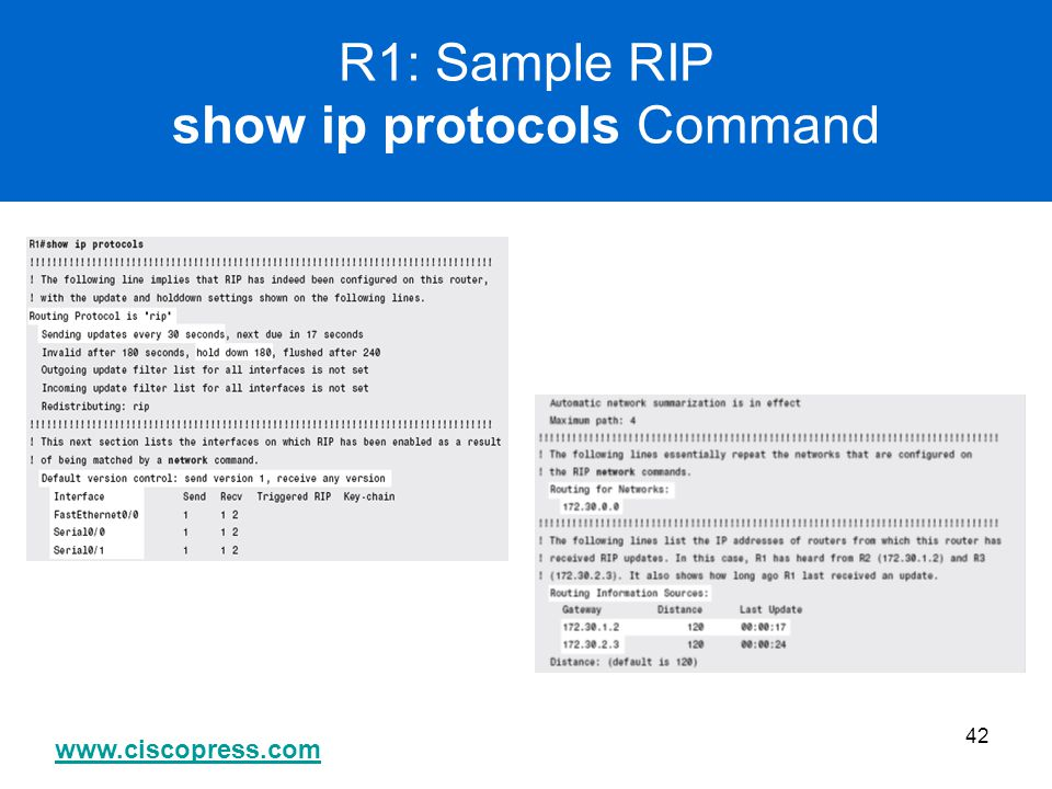 R1: Sample RIP show ip protocols Command