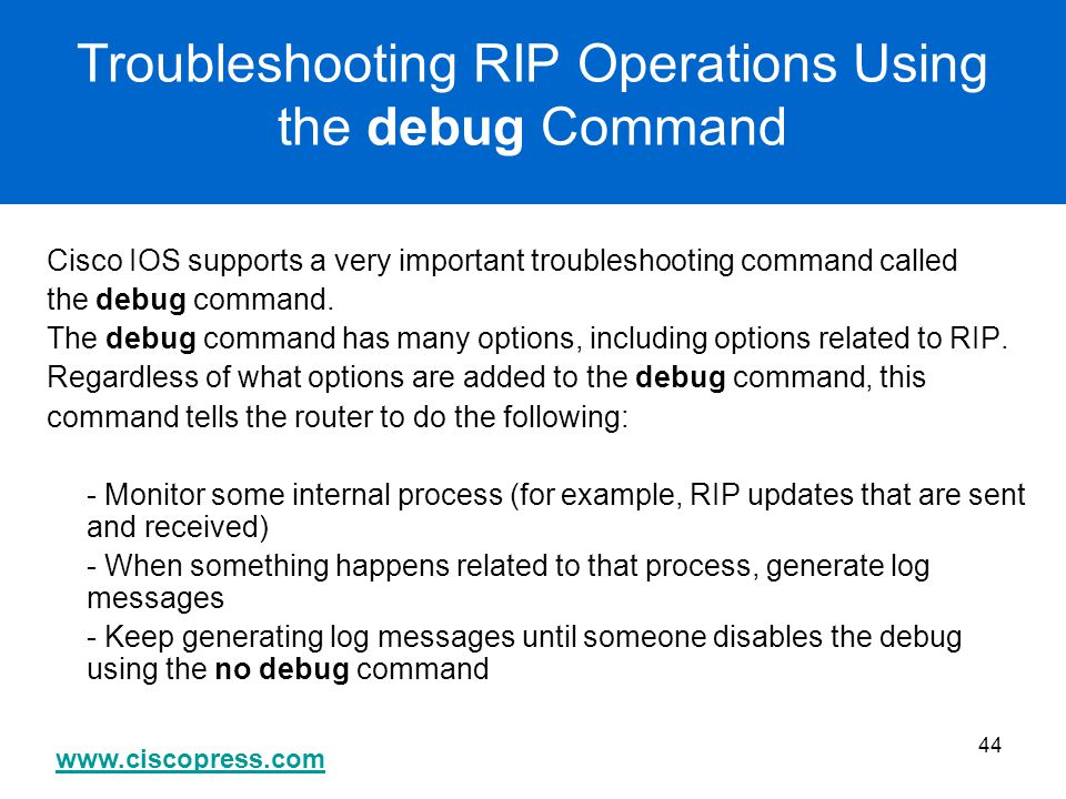 Troubleshooting RIP Operations Using the debug Command