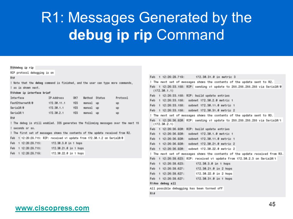 R1: Messages Generated by the debug ip rip Command