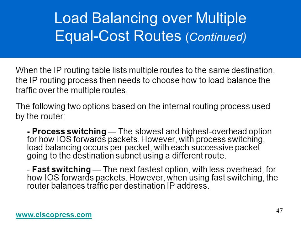 Load Balancing over Multiple Equal-Cost Routes (Continued)