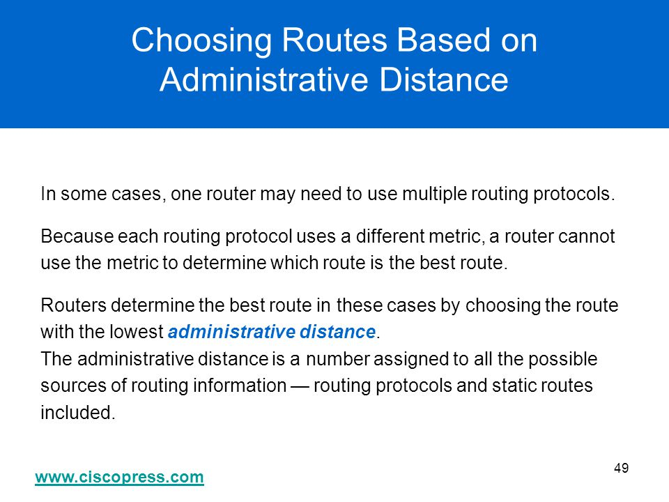 Choosing Routes Based on Administrative Distance