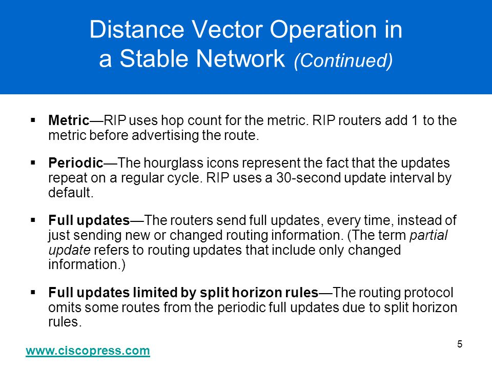 Distance Vector Operation in a Stable Network (Continued)