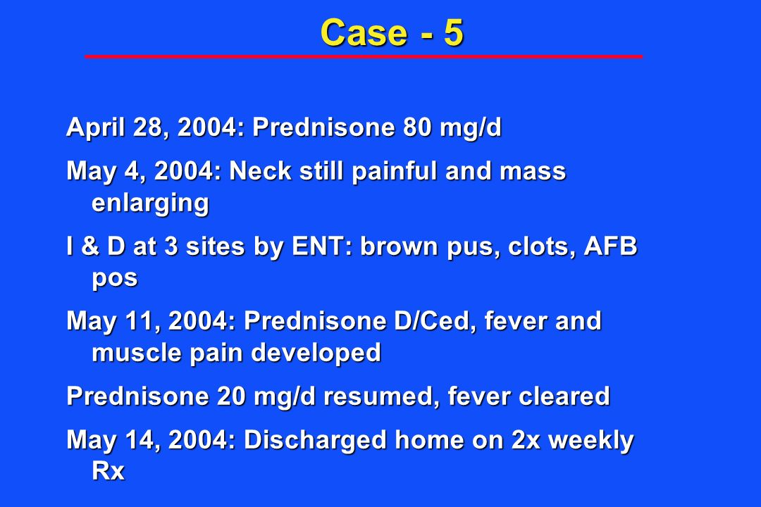 Case - 5 April 28, 2004: Prednisone 80 mg/d