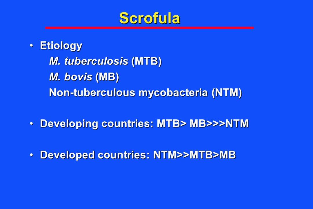 Scrofula Etiology M. tuberculosis (MTB) M. bovis (MB)