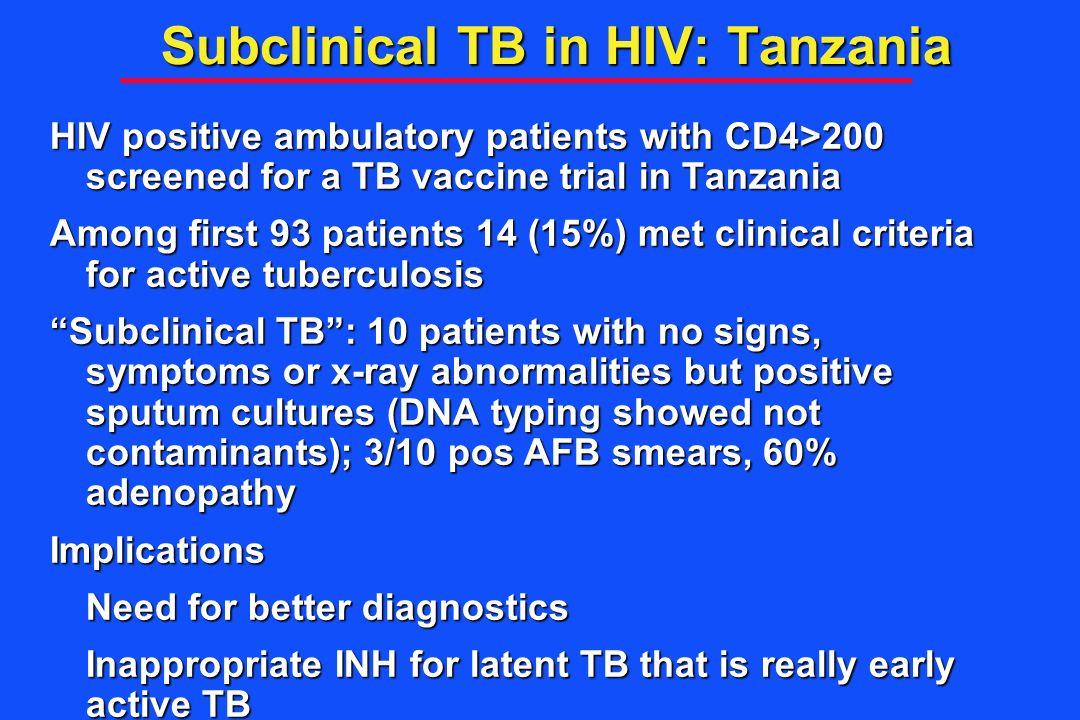 Subclinical TB in HIV: Tanzania