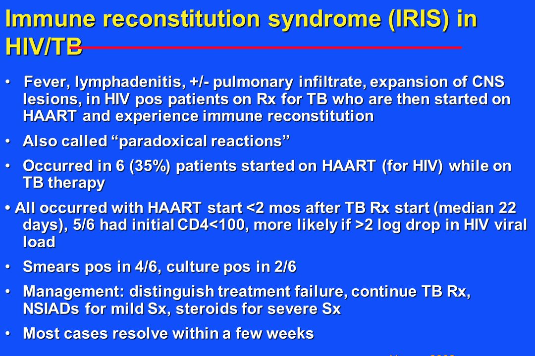 Immune reconstitution syndrome (IRIS) in HIV/TB