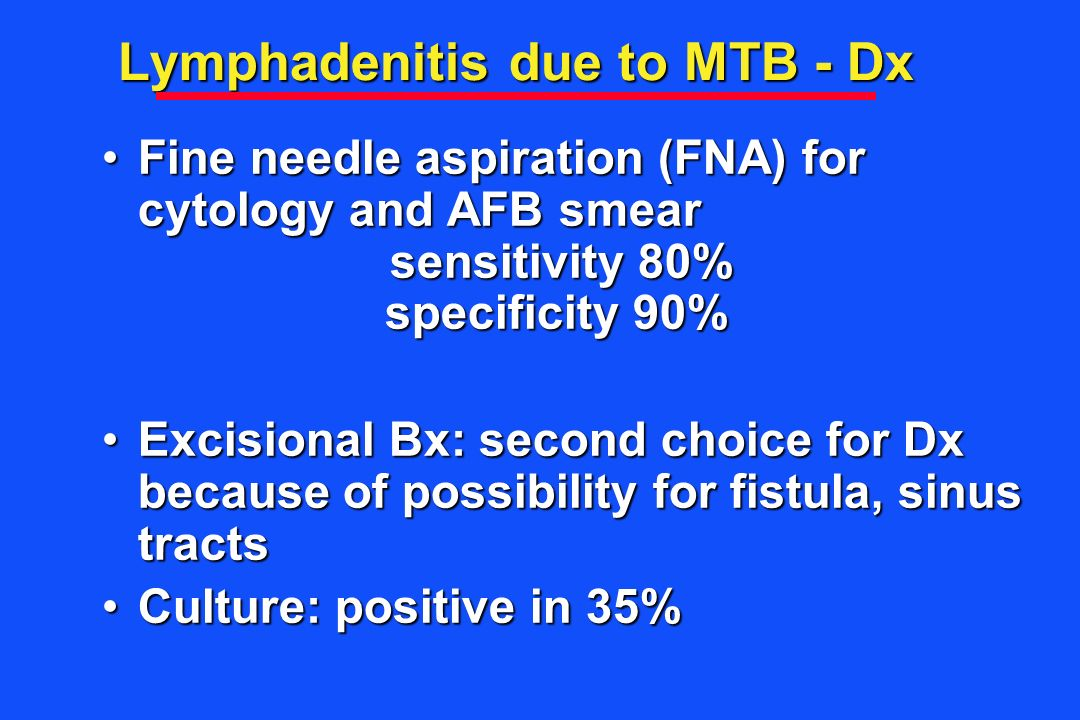 Lymphadenitis due to MTB - Dx
