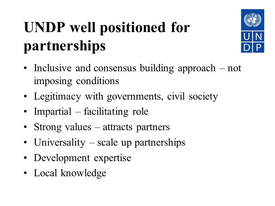 UNDP well positioned for partnerships