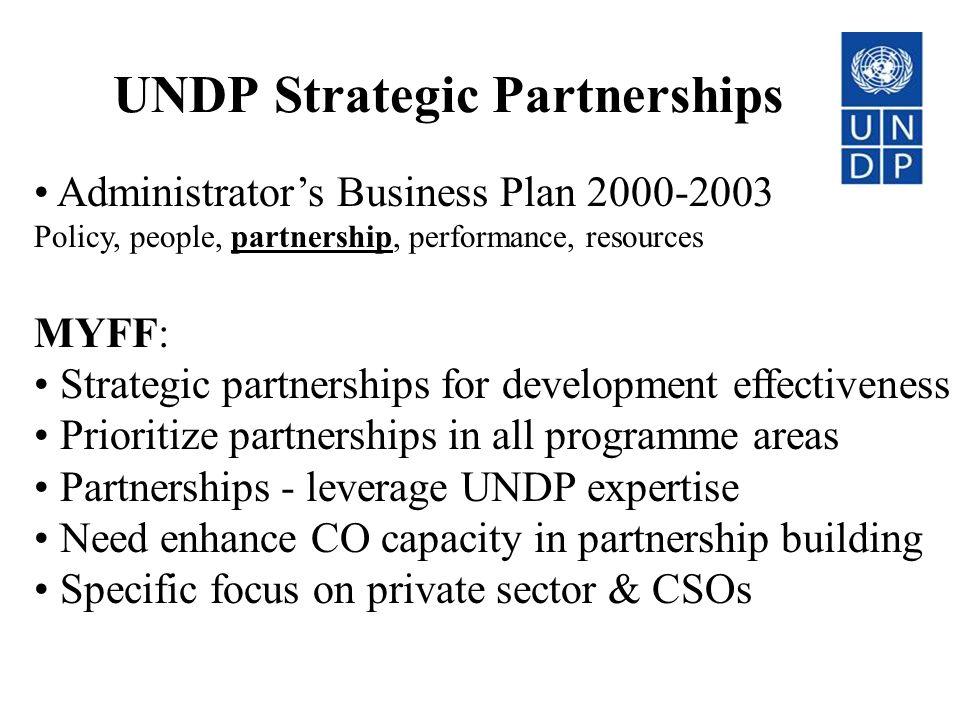 UNDP Strategic Partnerships