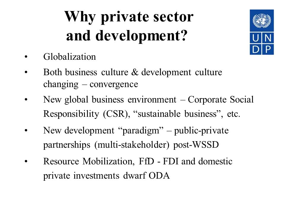 Why private sector and development