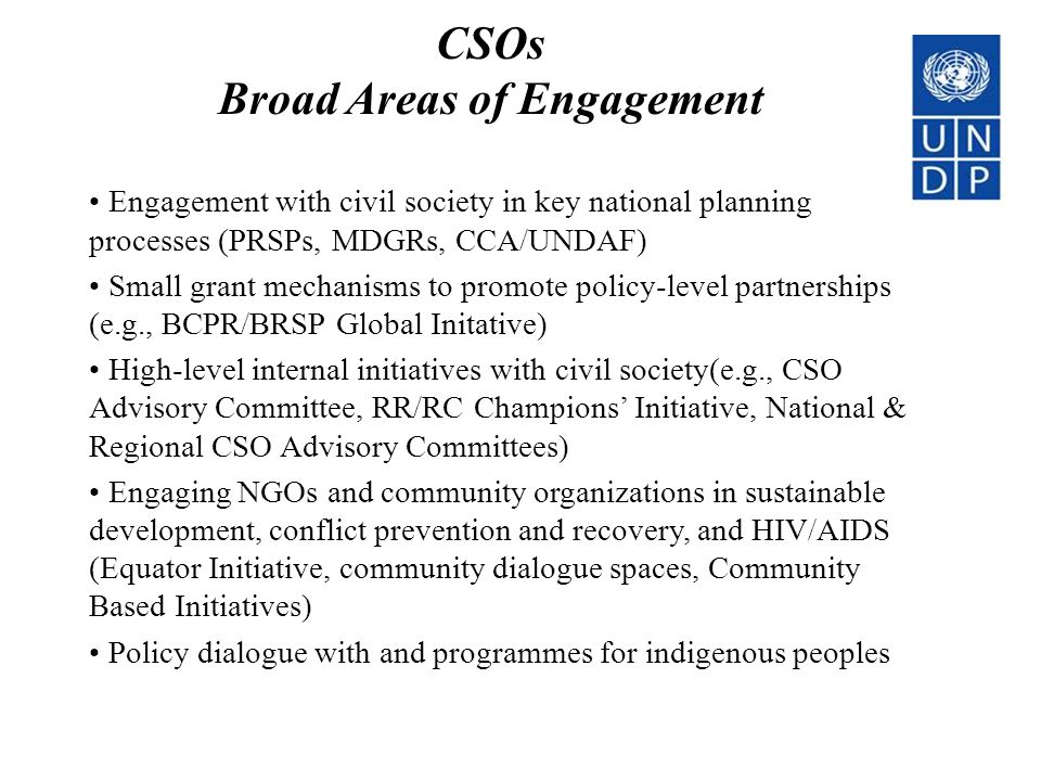 Broad Areas of Engagement