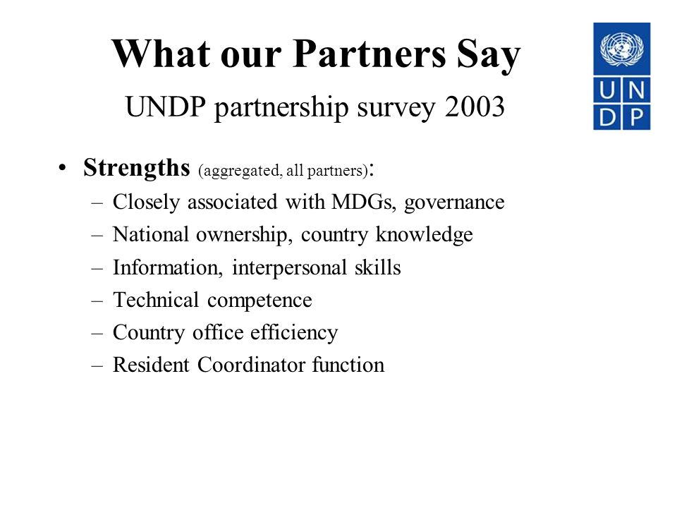 What our Partners Say UNDP partnership survey 2003