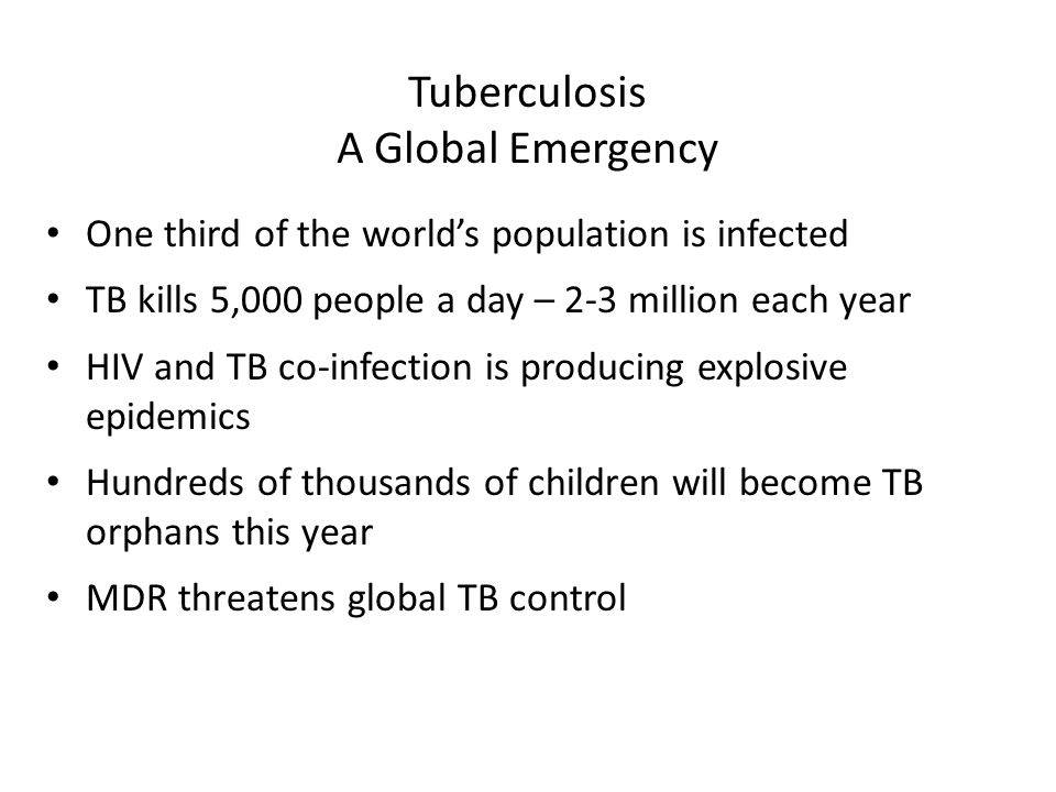 Tuberculosis A Global Emergency