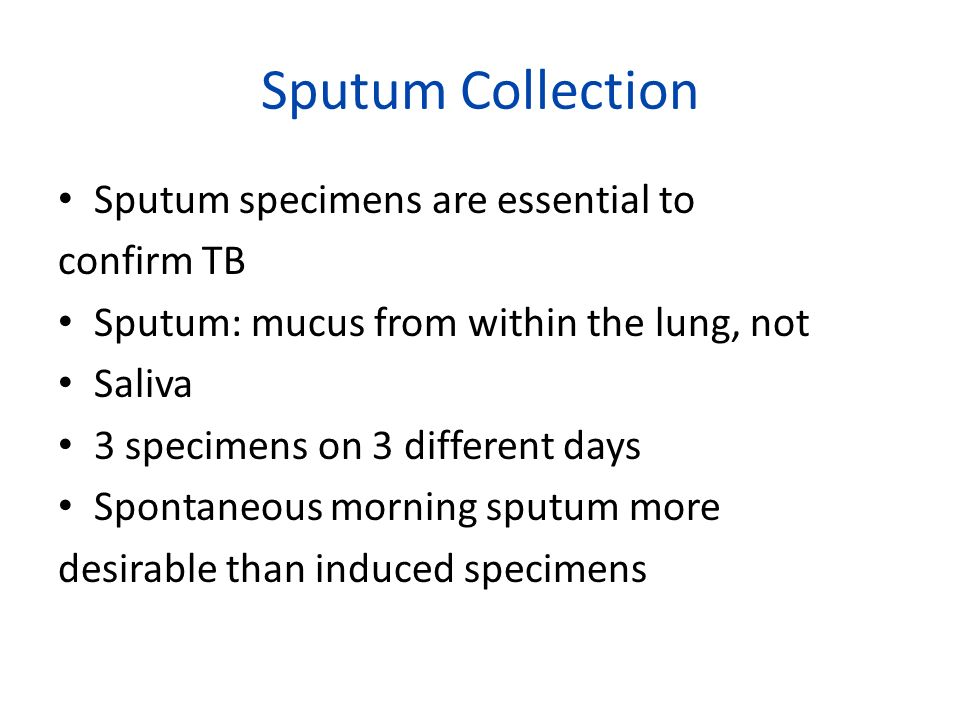 Sputum Collection Sputum specimens are essential to confirm TB