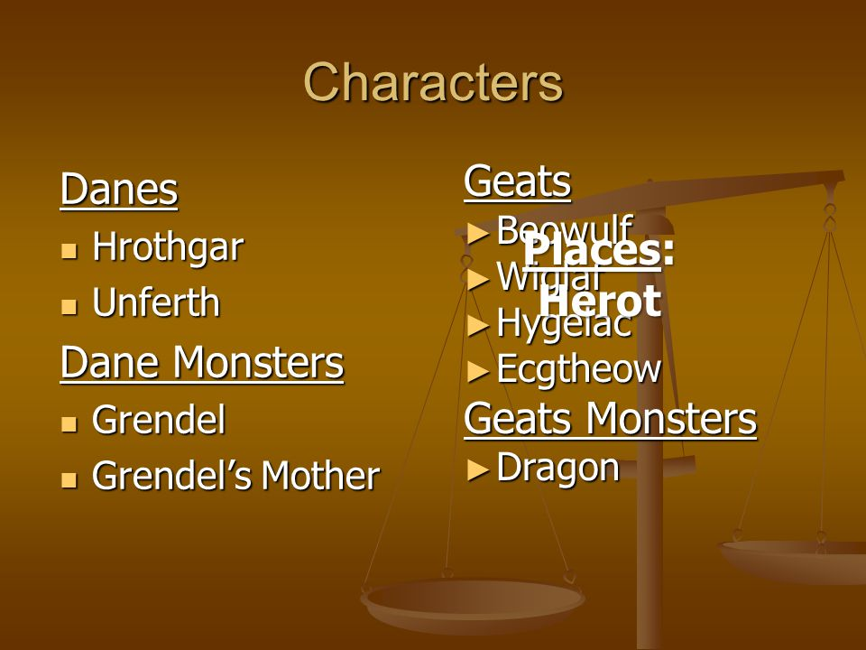 Characters Danes Geats Places: Dane Monsters Herot Geats Monsters