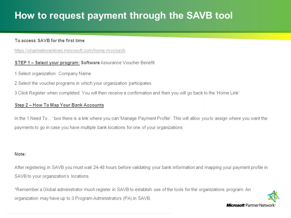 How to request payment through the SAVB tool