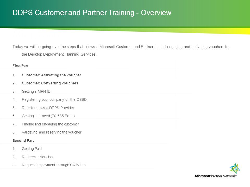 DDPS Customer and Partner Training - Overview
