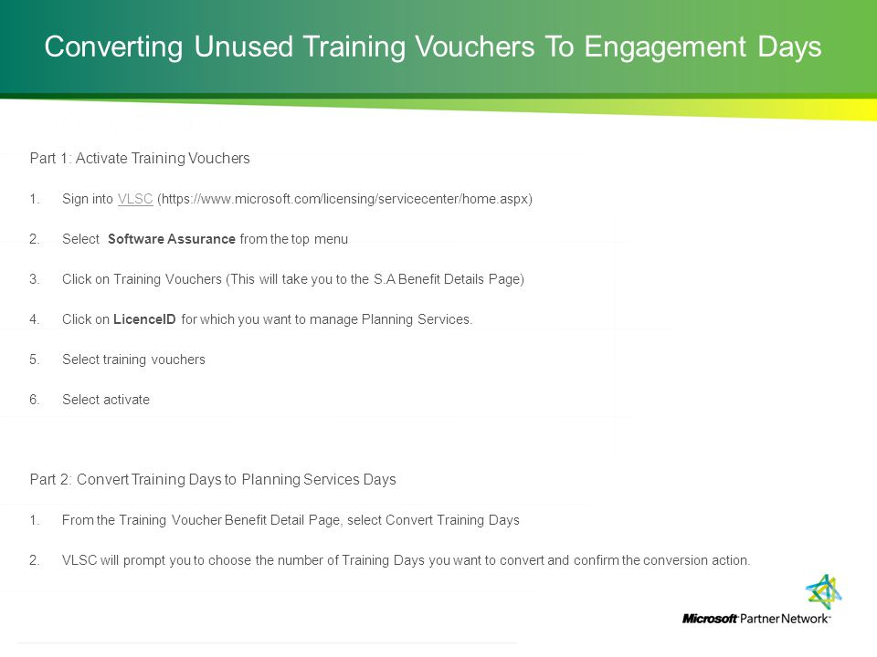 Converting Unused Training Vouchers To Engagement Days