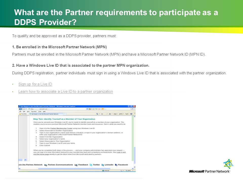What are the Partner requirements to participate as a DDPS Provider